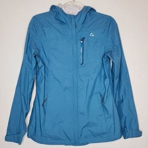 PARADOX   Teal Hooded Zip Up Rain Jacket SZ S